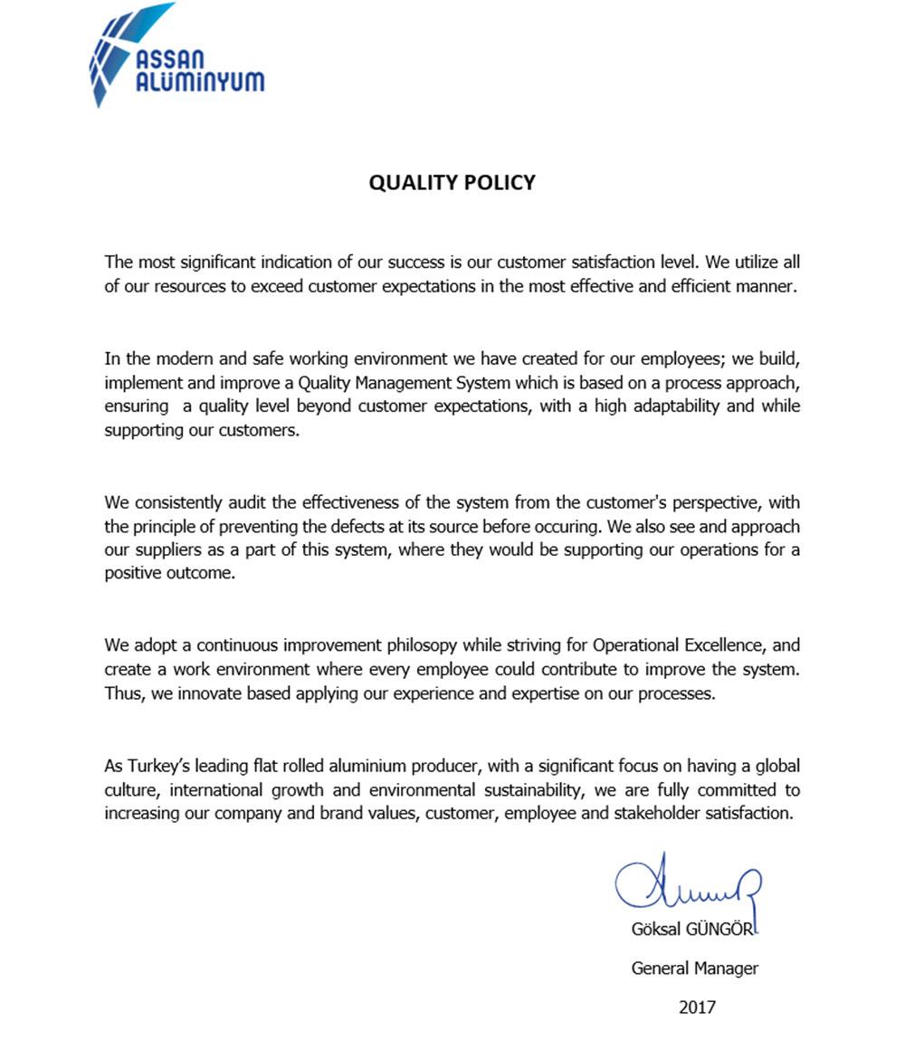 ourcompanypolicies Assan Aluminyum – Company Policy